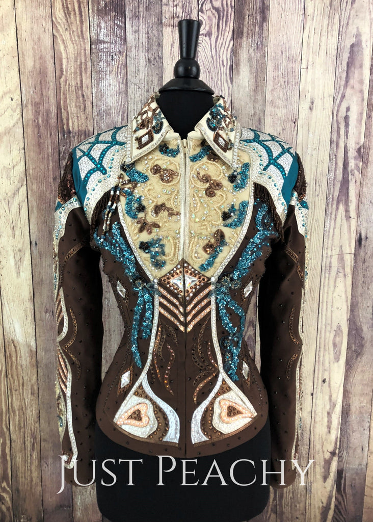 Chocolate And Teal Jacket By Elite Design ~ Ladies Large/xl Western Horse Show
