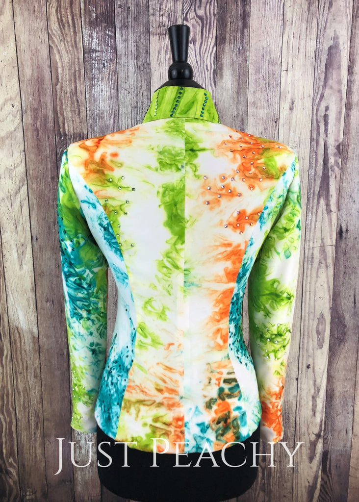 White Teal Orange And Green Jacket By On Pattern Designs ~ Ladies Medium Western Horse Show