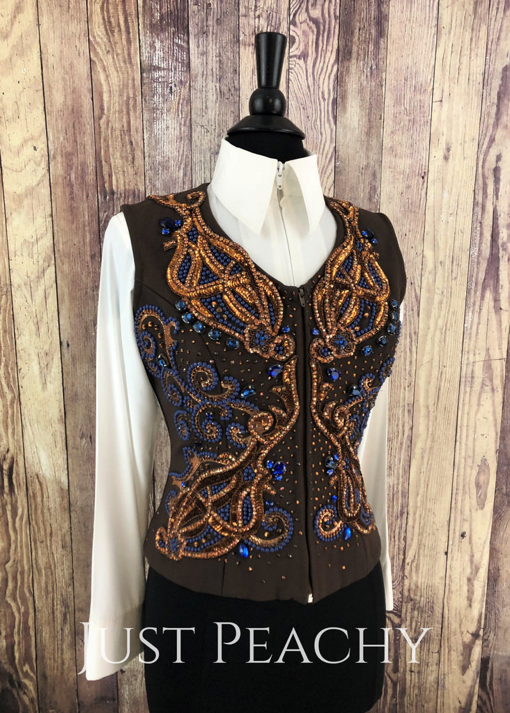 Chocolate Rust And Blue Vest By Just Pam ~ Ladies Medium Western Horse Show