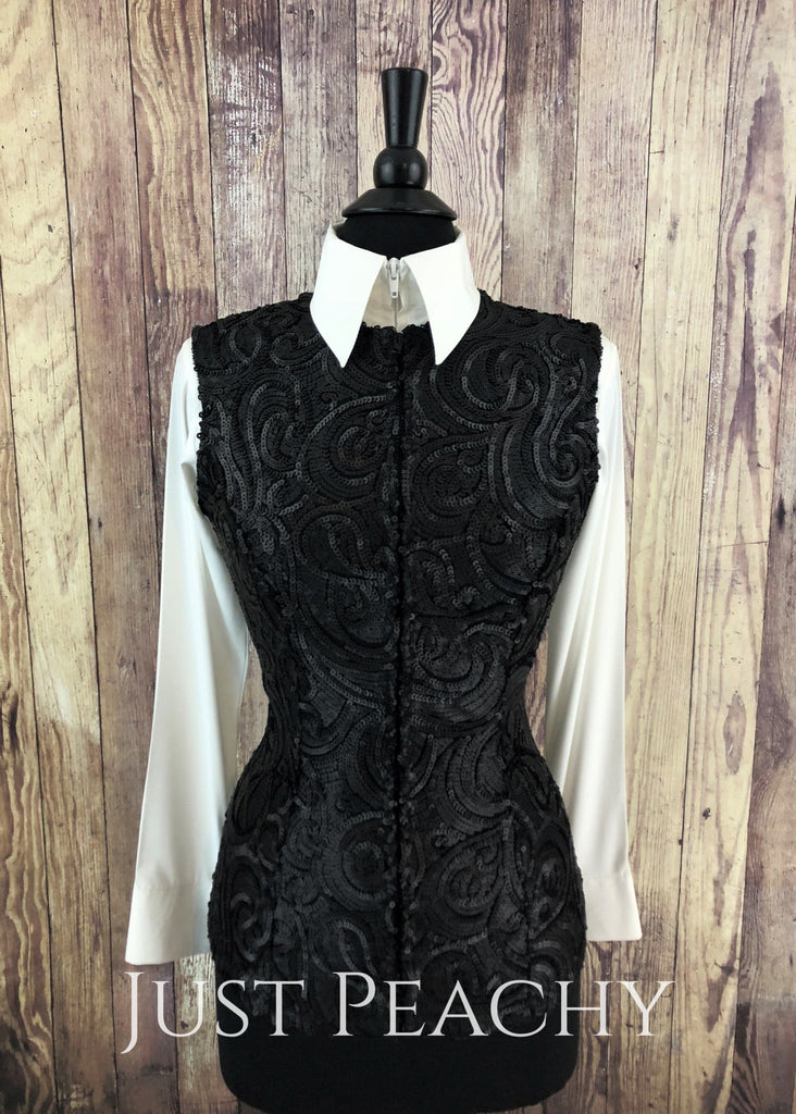 Black Matte Vest By Sweet Magnolia ~ Ladies Small Western Horse Show
