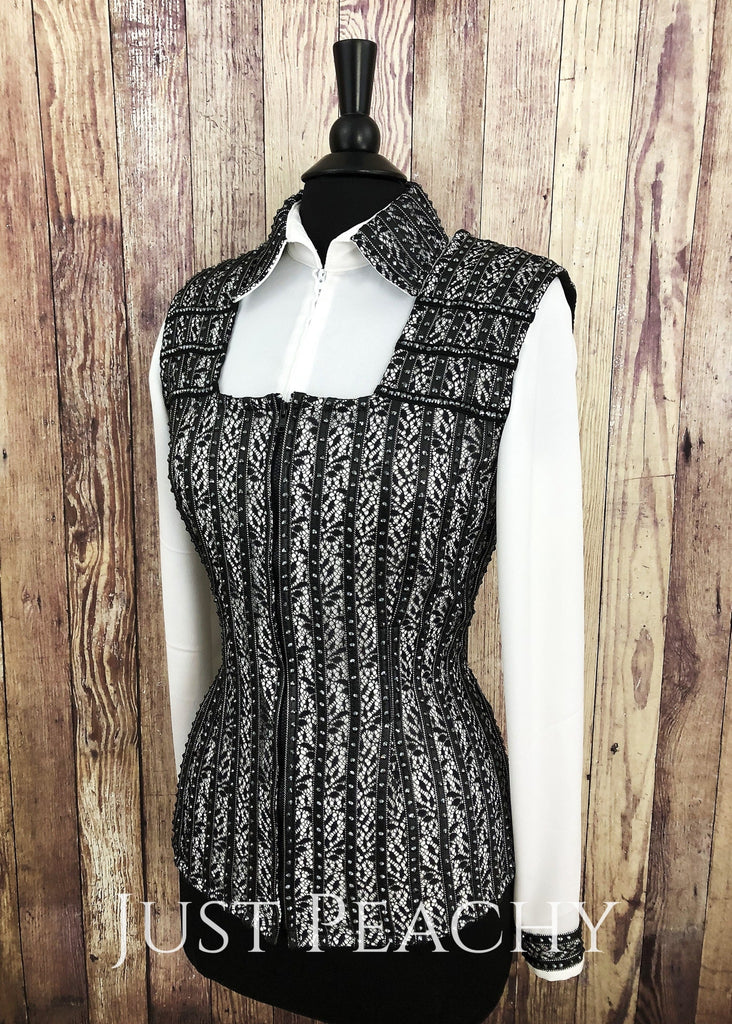 Black And White Striped Vest Set By Sweet Magnolia ~ Ladies Medium Western Horse Show