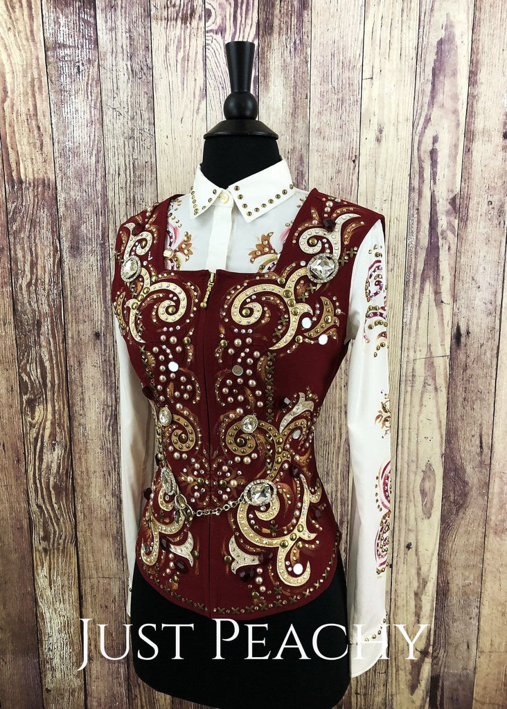 Colonial Red Vest Set/outfit With Chaps By Dry Creek Designs ~ Ladies Xs Western Horse Show Set