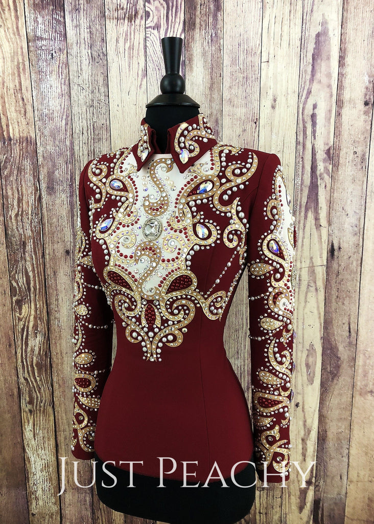 Colonial Red Horsemanship Outfit By Dry Creek Designs ~ Ladies Xs Western