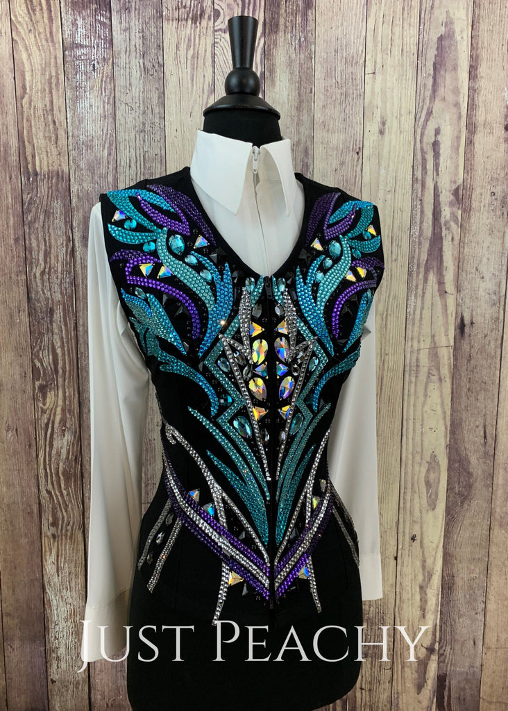 Purple Teal And Black Vest By Dardar8 Designs ~ Just Peachy Show Clothing