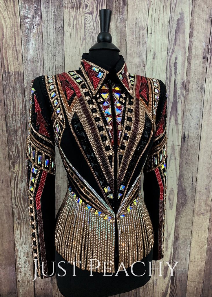 Rose Gold Red And Black Riding Jacket By Dardar8 Designs ~ Ladies Small Western Horse Show