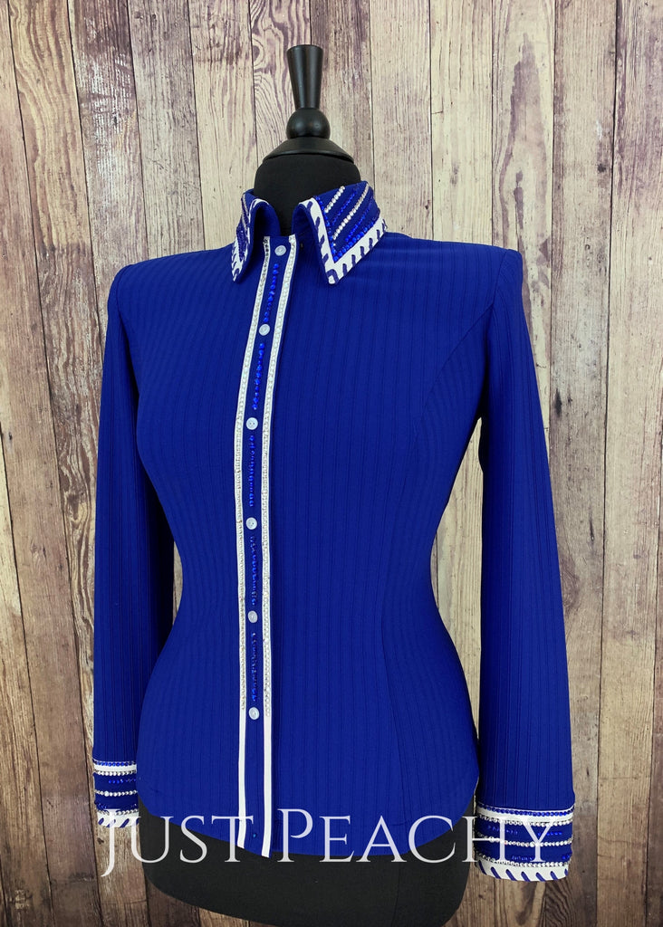 Royal Blue And White Pinstripe Day Shirt ~ Ladies Xl