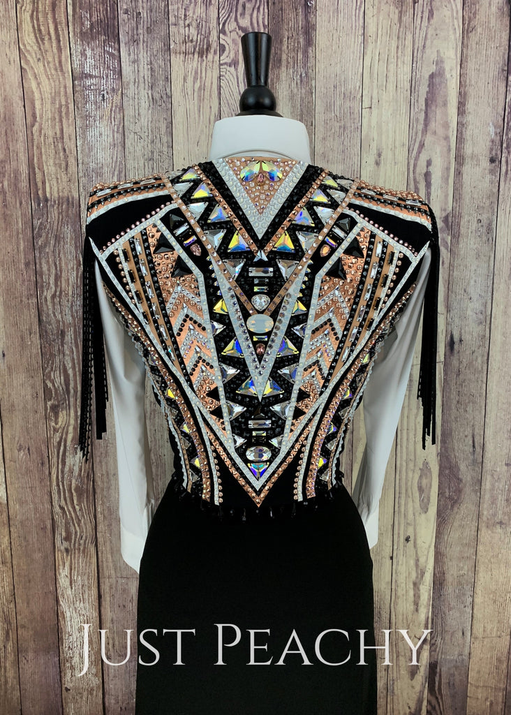Rose Gold White And Black Vest By Sonder Avenue ~ Ladies Small Western Horse Show
