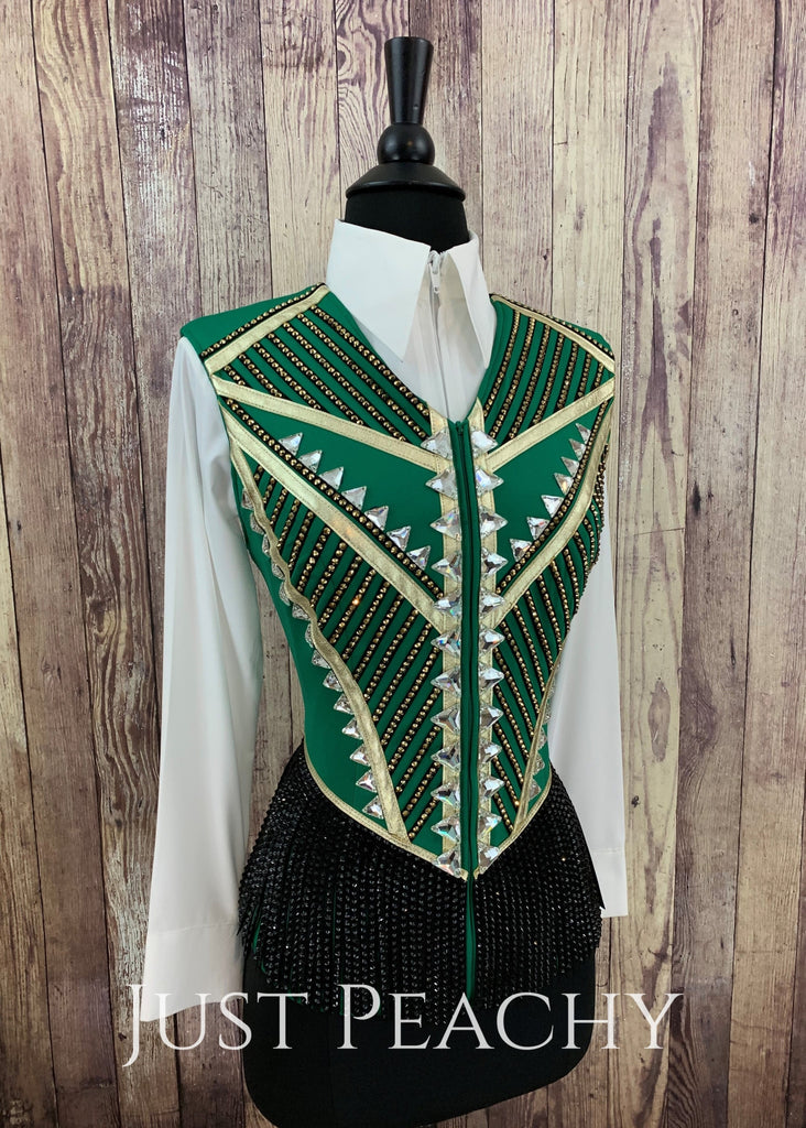 Kelly Green Gold And Black Fringe Vest By Jackson Rae Designs ~ Ladies Small Western Horse Show
