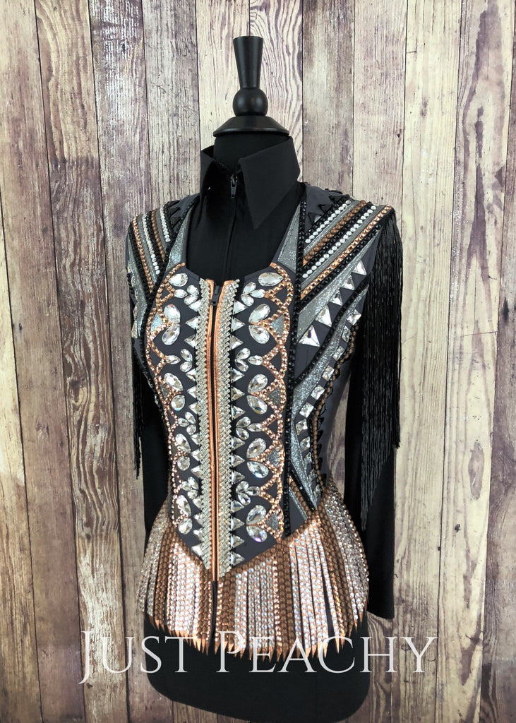 Charcoal Copper And Black Vest With Fringe By Stella ~ Ladies Xs Western Horse Show