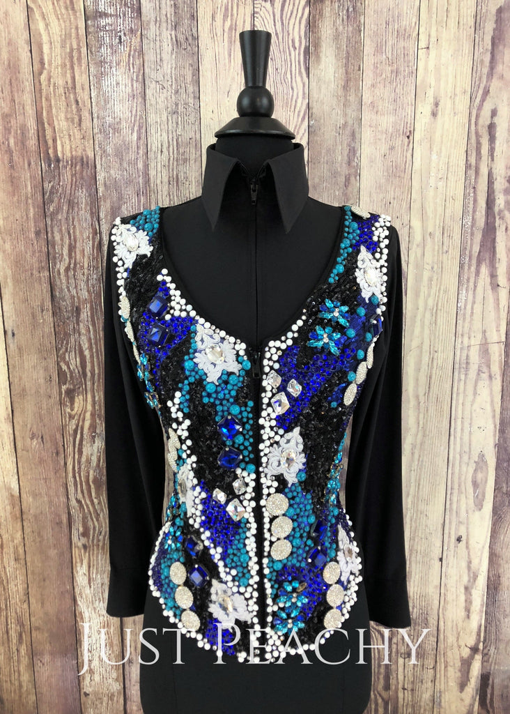 Teal Blue White And Black Vest By Lindsey James ~ Ladies Xs Western Horse Show