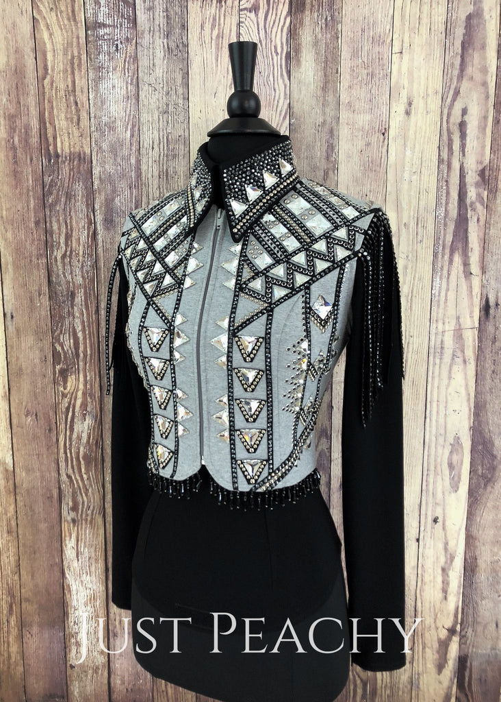 Heather Grey And Black Horsemanship Bolero Vest Set By Deb Moyer ~ Ladies Xs Western Shirt
