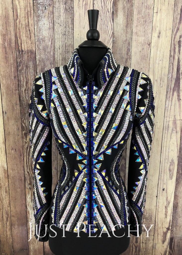 Cobalt Blue Pewter And Black Jacket By Stella ~ Ladies Xs Western Horse Show