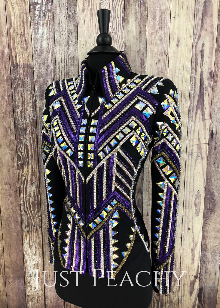 Purple Gold And Black Jacket By Stella Show Clothing ~ Ladies Xs Western Horse