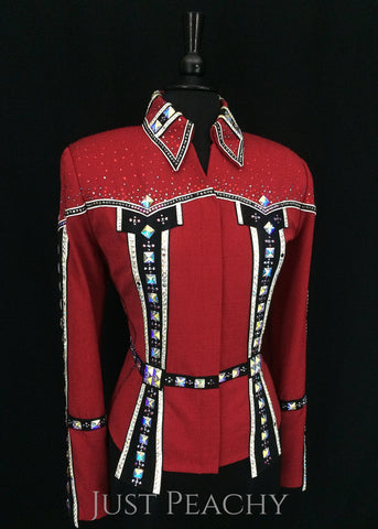 Berry Fit showmanship outfit in red, black and white