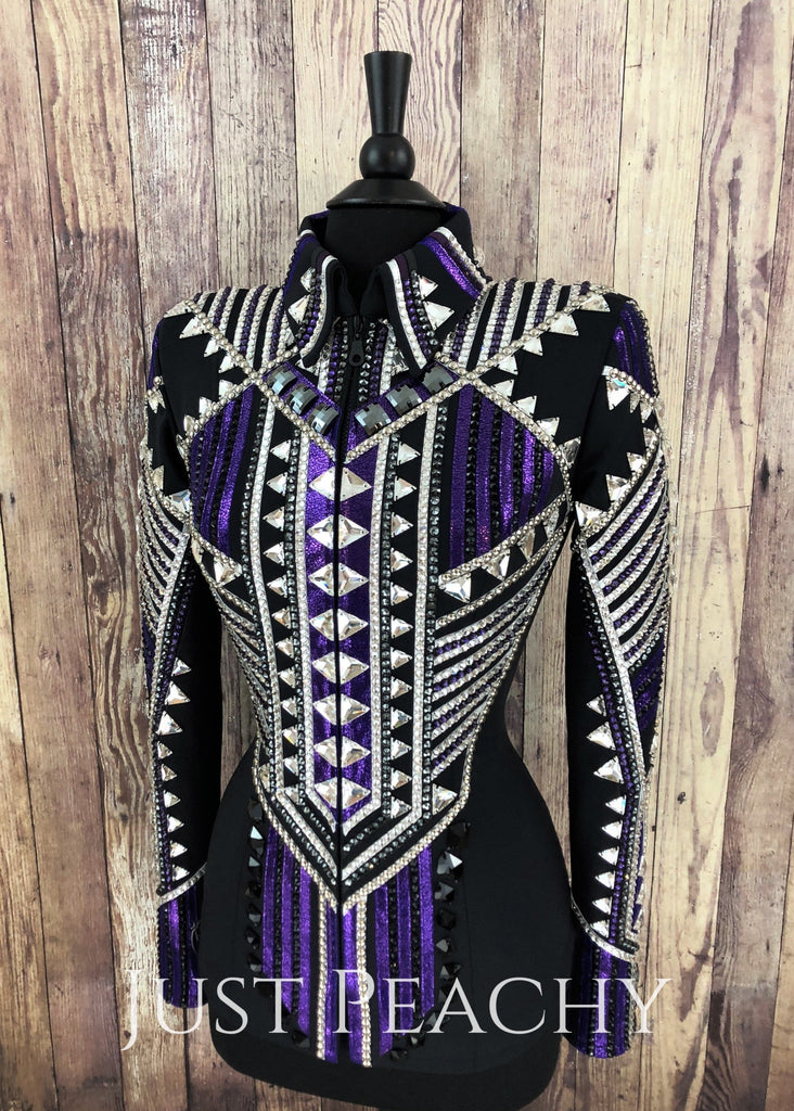 Purple Silver And Black Showmanship Jacket By Stella Show Clothing ~ Ladies Small Western