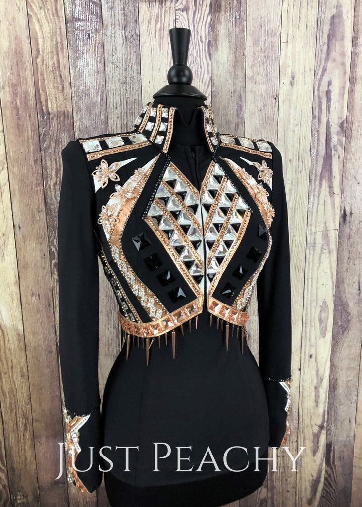 Rose Gold White And Black Bolero Set By Sweet Magnolia ~ Ladies Small Western Horse Show Vest