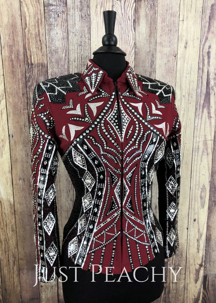 Deep Red Silver And Black Jacket By Elite Design ~ Ladies Medium Western Horse Show