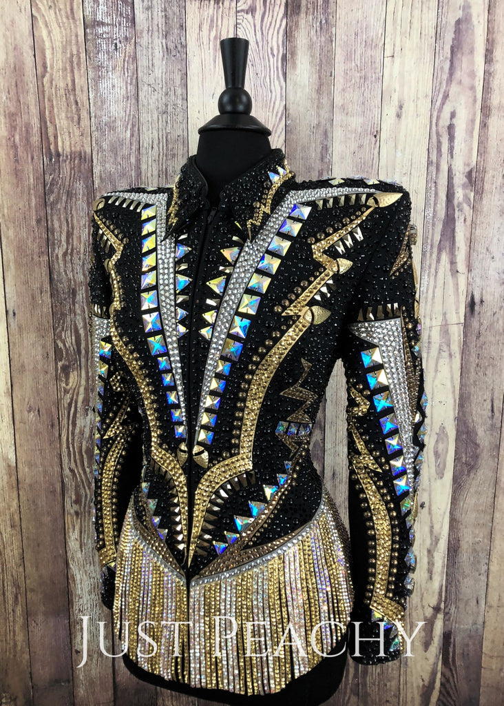 Gold And Black Fringe Riding Jacket By Lindsey James ~ Ladies Xl Western Horse Show