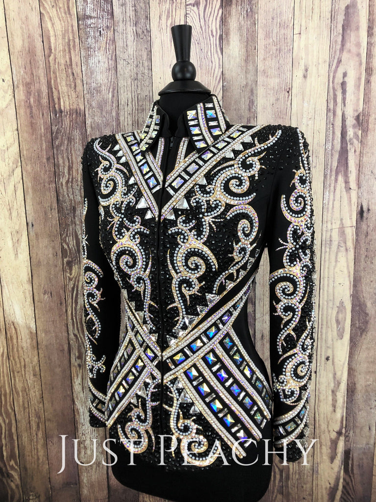 White Gold And Black Jacket By Lindsey James Show Clothing ~ Ladies Medium Western Horse