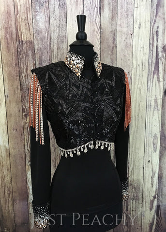 Western Horse Show Bolero Vest Set by KLS Designs - Just Peachy Show Clothing