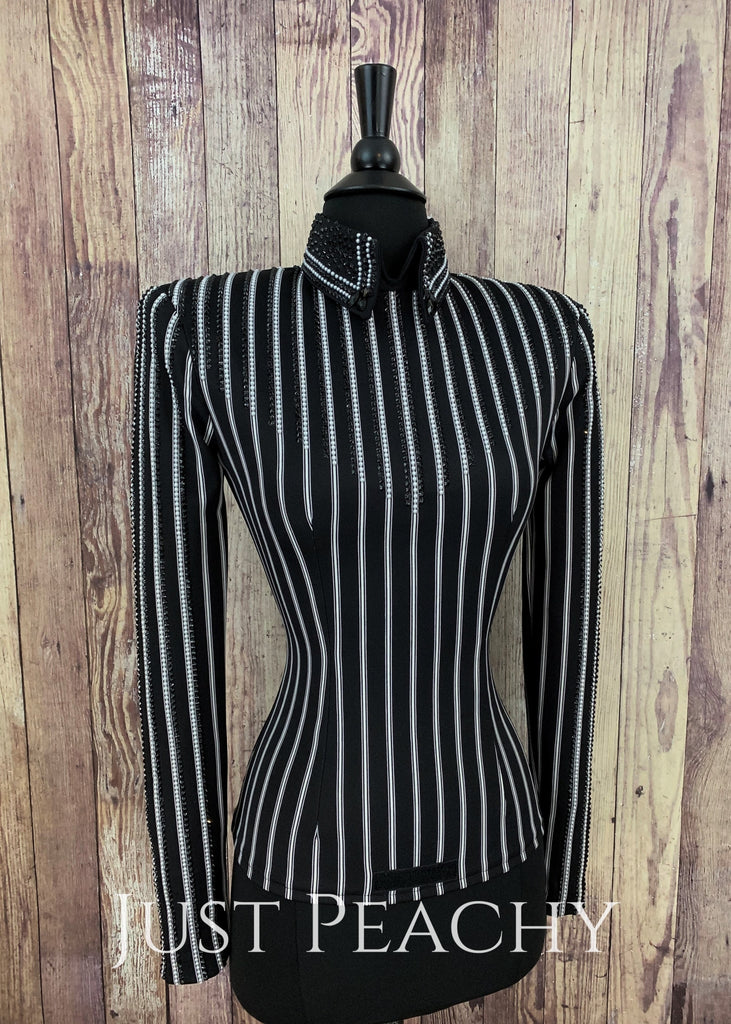 Black And Pearl Pinstripe Horsemanship Shirt By Kls Designs ~ Ladies Xs Western
