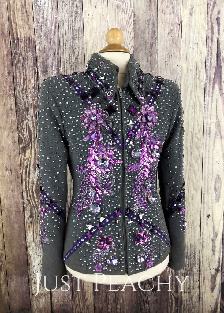 Charcoal And Purple Youth Showmanship Outfit By Brittz Glitz ~ Large Western