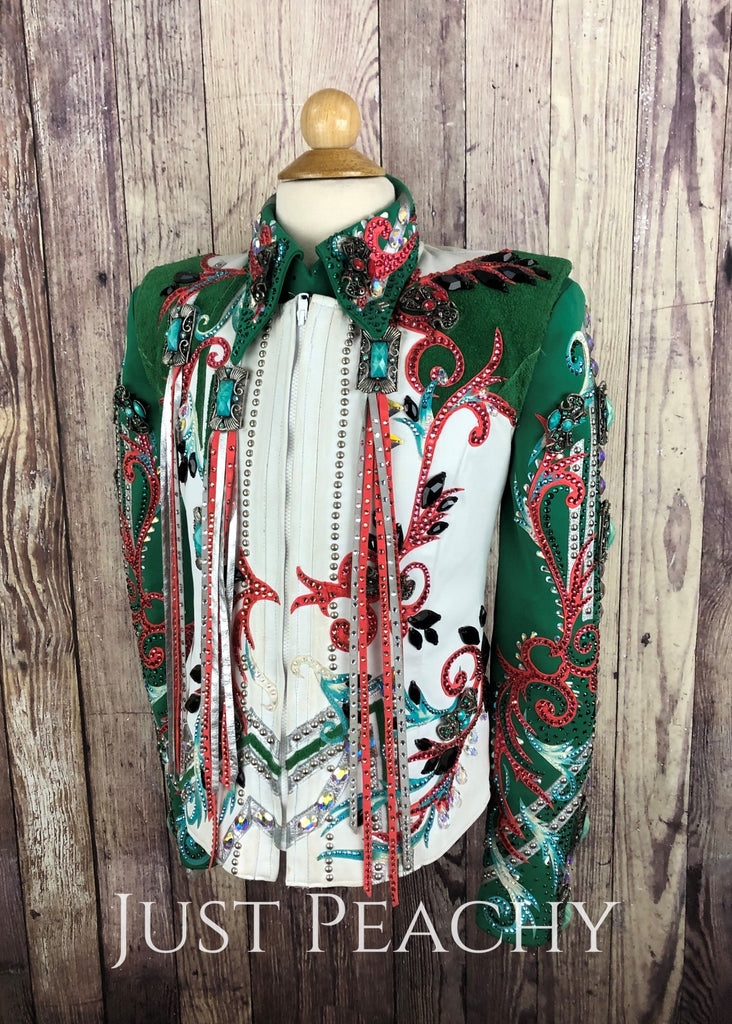 Emerald Green And Coral Youth Outfit By Paulas Place ~ Large Western Horse Show With Chaps