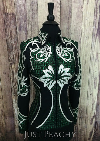 Black, Emerald Green and Silver Jacket ~ Ladies XS/Youth XL - Just Peachy