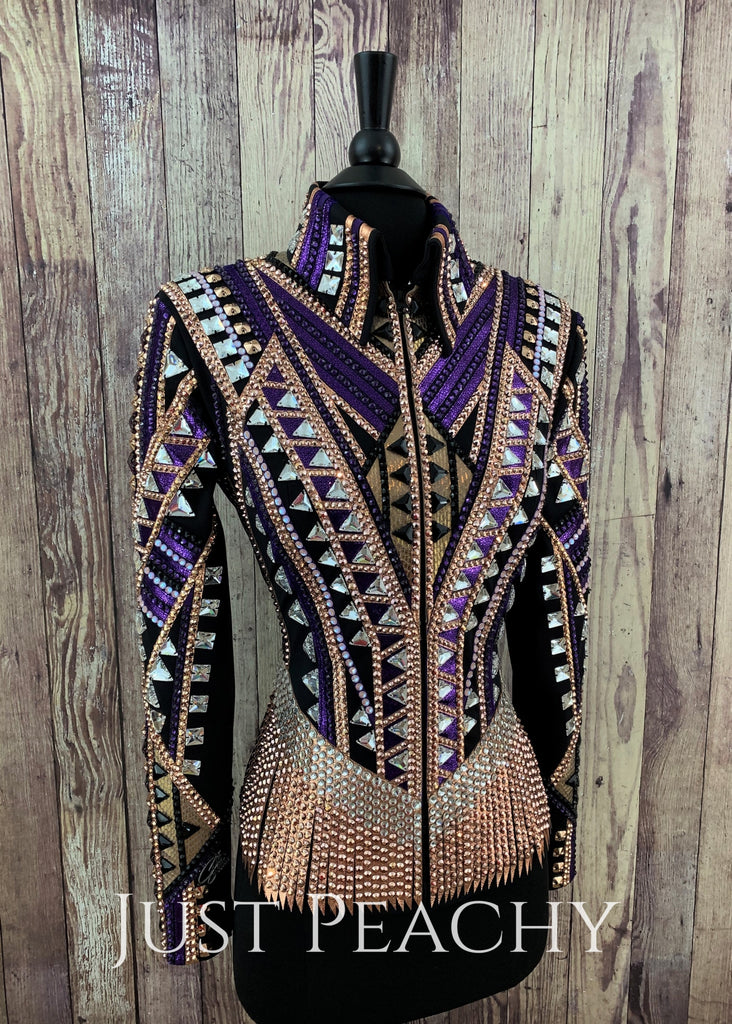 Purple Rose Gold And Black Riding Jacket By Stella ~ Ladies Xs/small Western Horse Show