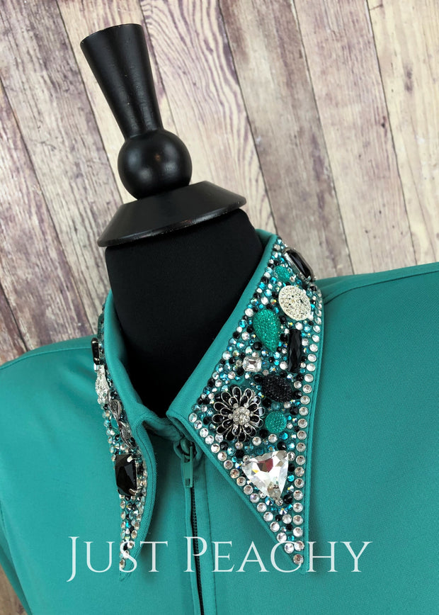 The Simply Perfect Horse Show Shirt In Seafoam By Deb Moyer ~ Ladies Small Western
