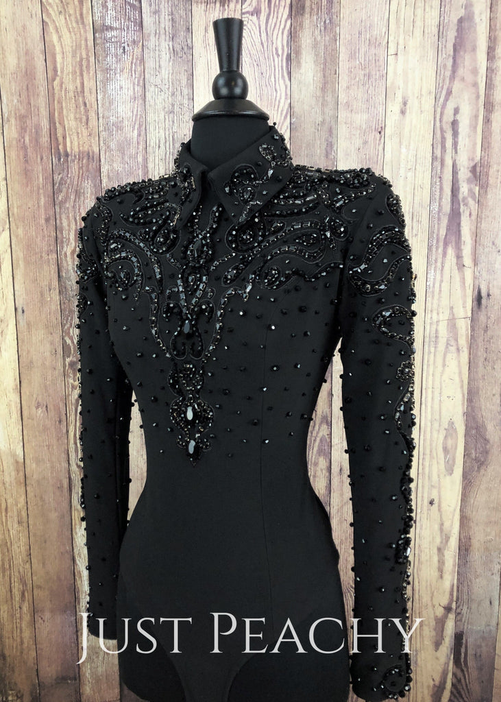 Black Hand-Beaded Horsemanship Shirt By Showtime ~ Ladies Xs Western
