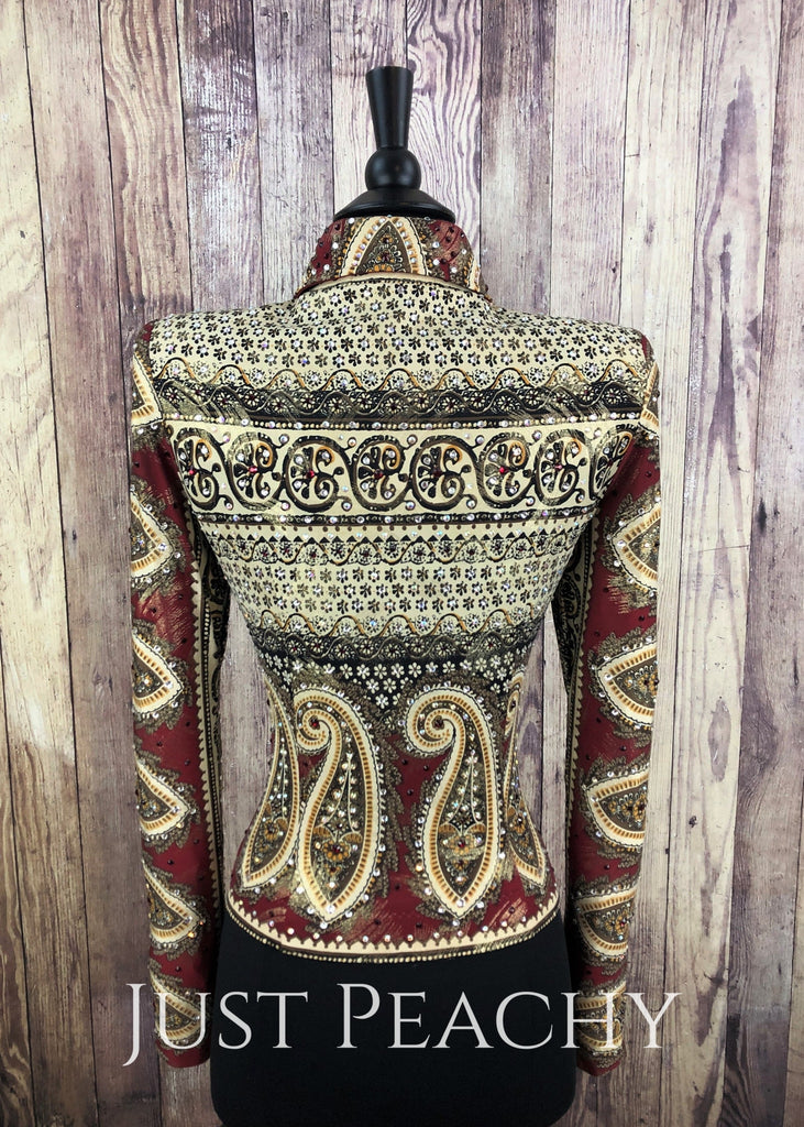 Deep Red And Sand Paisley Riding Jacket By Dry Creek Designs ~ Ladies Small Western Horse Show