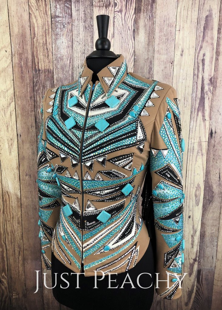 Turquoise Sand And Black Jacket With Fringed Sleeves By Just Jan ~ Ladies Medium Western Horse Show
