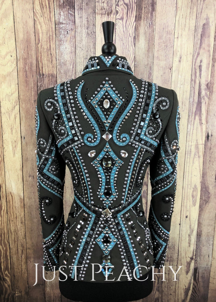 Charcoal And Blue Showmanship Outfit By Dry Creek Designs ~ Ladies Xs Western