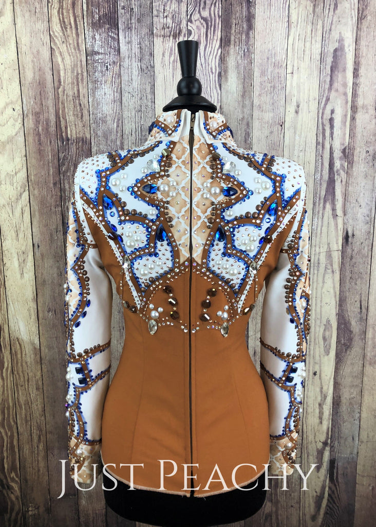 Whiskey Blue And White Horsemanship Outfit With Chaps By Dry Creek Designs ~ Ladies Medium Western