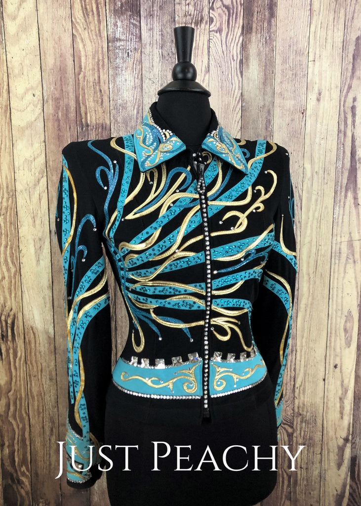 Black Turquoise And Gold Jacket By Dardar8 ~ Ladies Small Western Horse Show