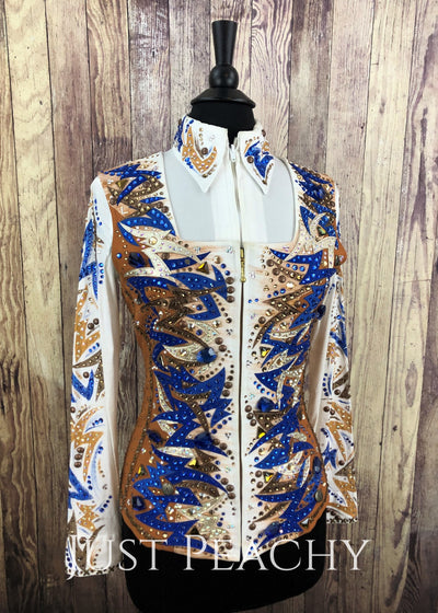 Whiskey Blue And White Vest Set By Dry Creek Designs ~ Ladies Small Western Horse Show