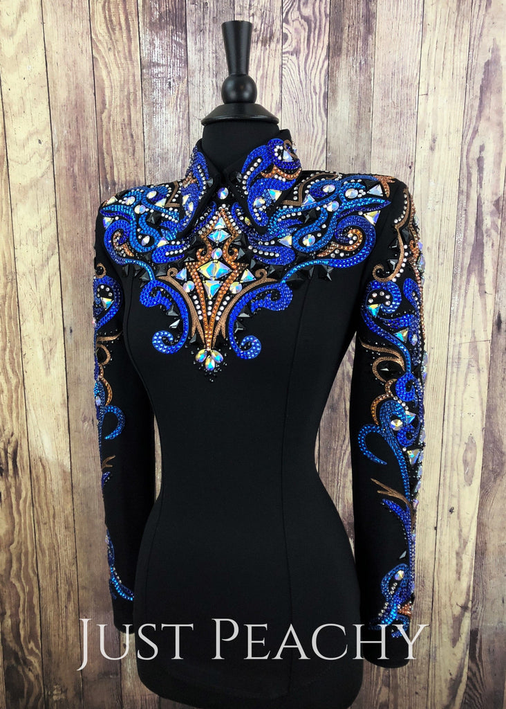 Royal Blue Copper And Black Horsemanship Shirt By Dardar8 Designs ~ Ladies Xs Western