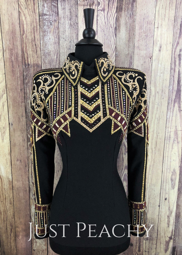Gold Burgundy And Black Horsemanship Shirt By Set Apart Show Apparel ~ Ladies Xs/small Western