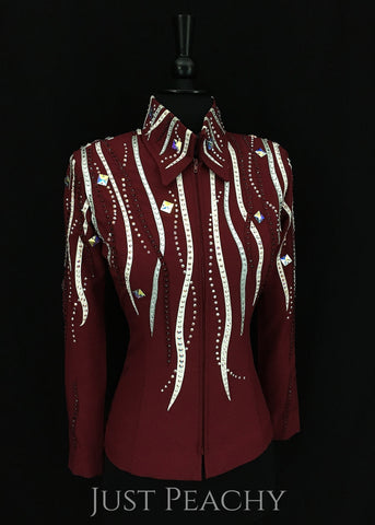 Burgundy, White and Silver Showmanship Outfit by A Winning Attitude ~ Ladies XS - Just Peachy