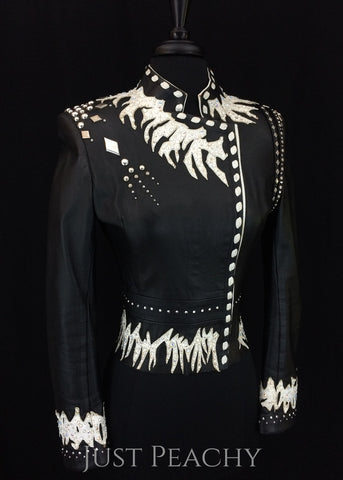 Black and white leather western horse show jacket ~ Just Peachy Show Clothing