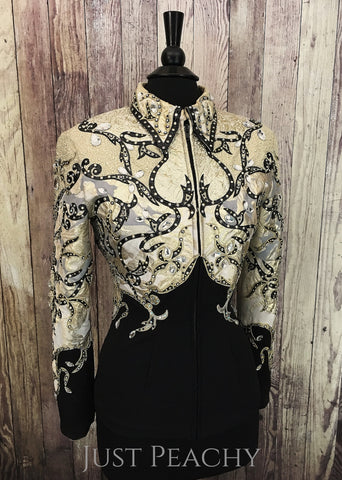 Black and Gold Jacket by Carolina Beverly Hills ~ Ladies XL - Just Peachy