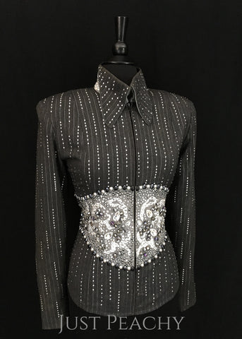 Charcoal Pinstripe Showmanship Suit ~ Ladies Medium - Just Peachy