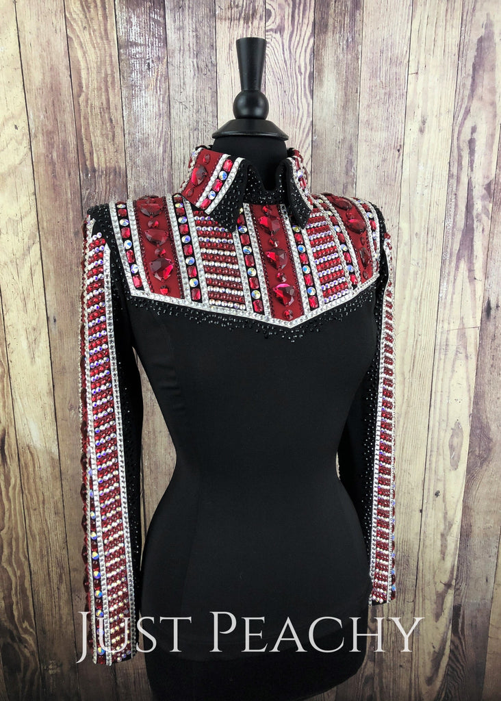 Red Black And White Horsemanship Shirt By Lenka Fogltonova ~ Ladies Medium Western