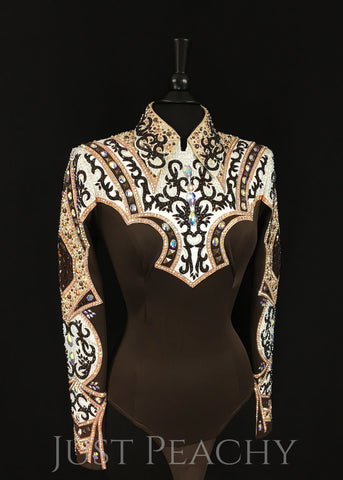 Chocolate, Ivory and Copper Horsemanship Shirt by Lindsey James ~ Ladies Medium