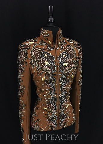 Whiskey, Black and Gold Jacket by Just Pam ~ Ladies Small/Medium - Just Peachy