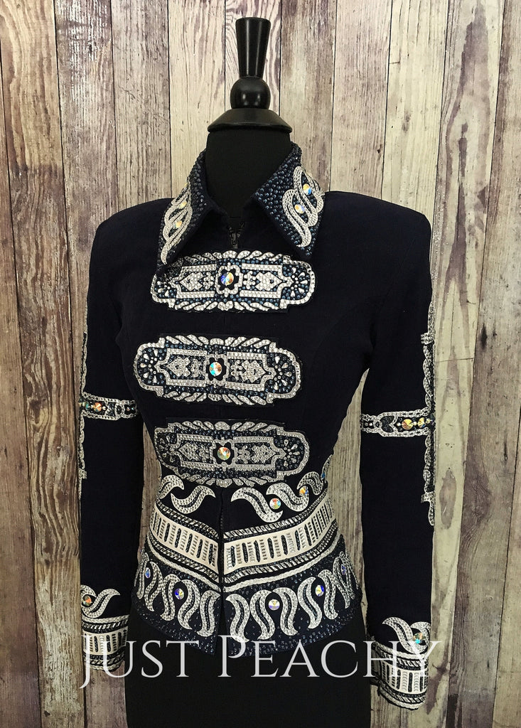 Navy Blue And White Jacket By Paulas Place ~ Ladies Xs Western Horse Show
