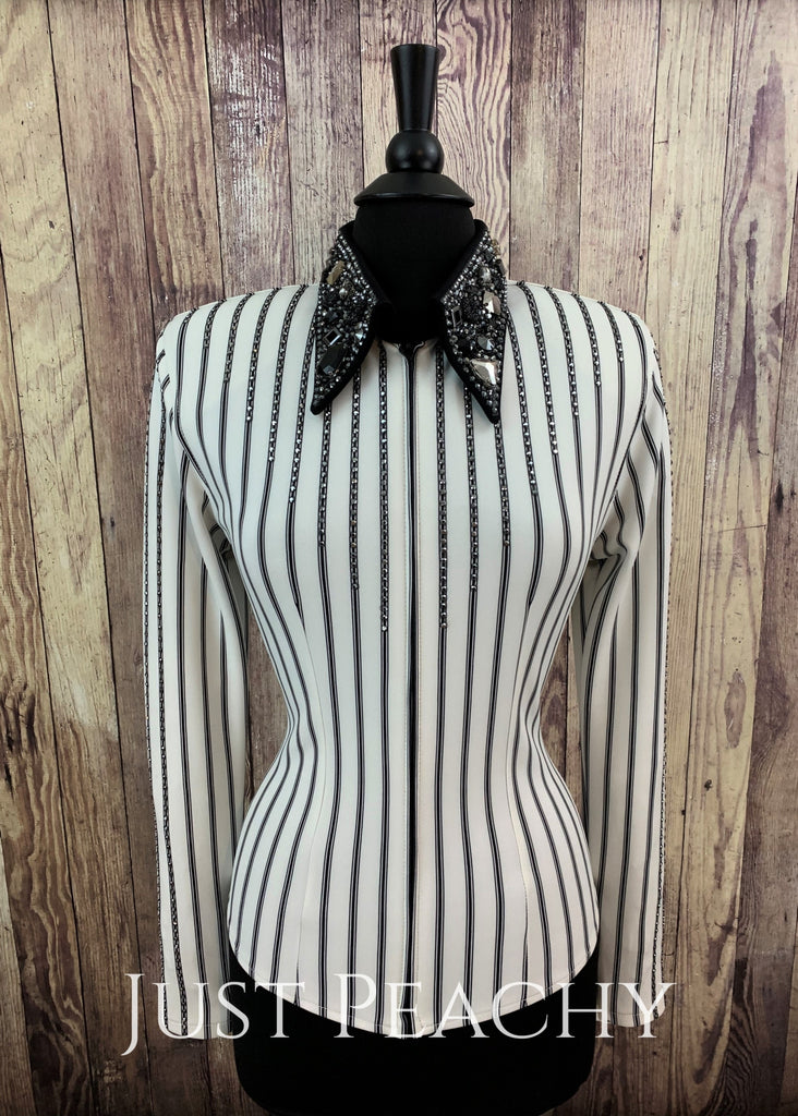 White And Black Pinstripe Simply Perfect Horse Show Shirt By Deb Moyer ~ Ladies Medium Day