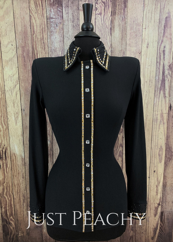 Gold Crystal And Black Day Shirt By A Winning Attitude ~ Ladies Medium