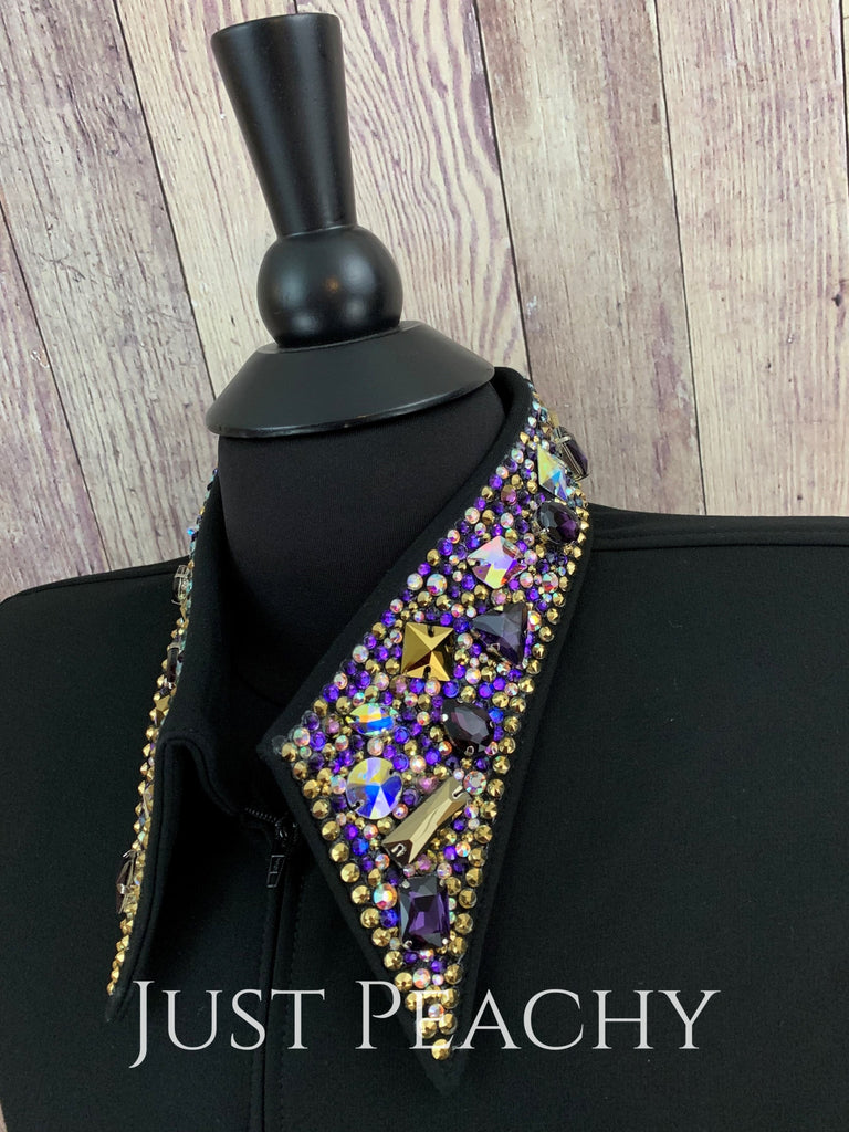 The Simply Perfect Horse Show Shirt In Black With Purples And Golds By Deb Moyer ~ Ladies Medium